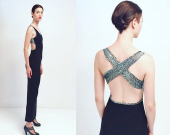 Vtg Black Silver Glitter Open Back Maxi Glam Dress