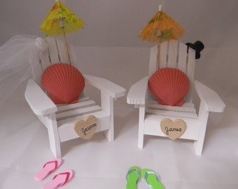 Wedding Reception  Party Adirondack Chairs Seashells Names  Personalized Cake Topper
