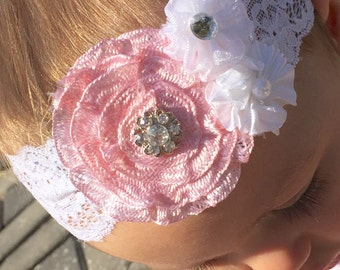 White Lace 3 Flower headband.