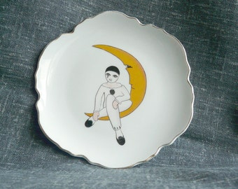 Decorative vintage plate pierrot on a moon | French china, wall plate