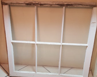 vintage 6 pane window with 3 panes of glass