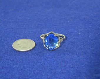 Vintage Sterling Silver Blue Stone Ring One Size Fits All Up To Size 9