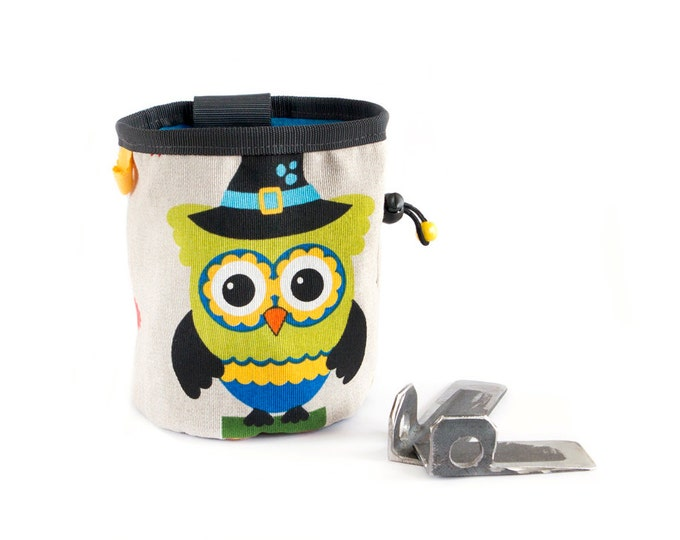 Sport Climbing Chalk Bag. Bouldering Bag Climbing Equipment. Chalk Bag with Owl, L Size