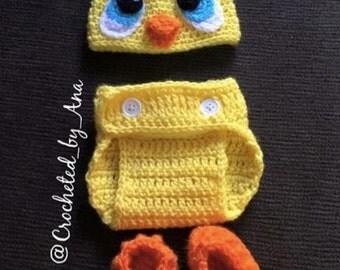 Crochet Ducky Baby Photo Prop, Rubber duck,newborn,handmade,crochet,baby photography,picture,baby shower gift,duck feet slippers.