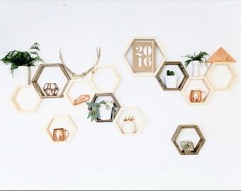 Honeycomb Wall - Wood Shelves