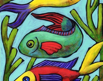 "Original 10""x8"" painting on a cradled wood panel ""Aquarium"""