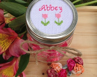 Personalized Mason Jar with Flowers, Mason Jar Decor, Mason Jar Lid, Gift for Kids, Personalized Gift for Girl, Cross Stitch Art