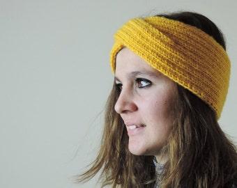 Turban Headband, Knit Headband, Yellow Turban Headwrap, Boho Headband, Knitted Ear Warmer, Bohemian Knitted Headband