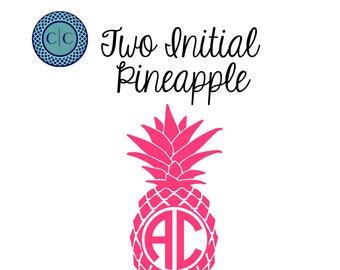 Pineapple Monogram, Pineapple Monogram Sticker, Pineapple Monogram Decal, Pineapple Car Monogram, Vine Font Monogram, Personalized Sticker