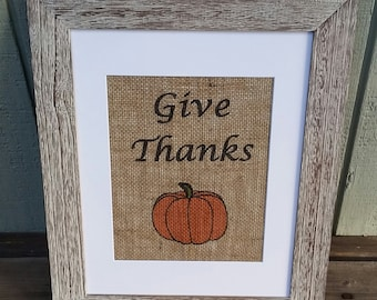 Burlap sign,Give thanks,Thanksgiving,Fall Home Decor,Holiday,Pumpkin,Rustic,Shabby Chic,Kitchen Decor,Wall hangings,Thankful,Religious