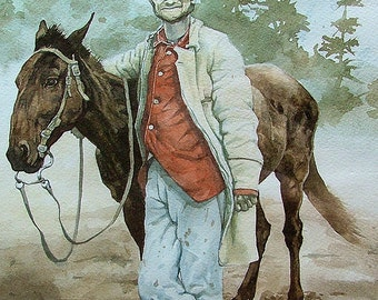 """Frederick Wadsworth Loring With His Mule """"Evil Merodach"""" (Print)"""