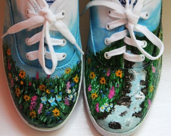 Wildflowers Handpainted Keds Canvas Shoes Women's Size 8.5