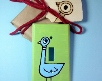 The Pigeon Hand-painted Lightswitch cover
