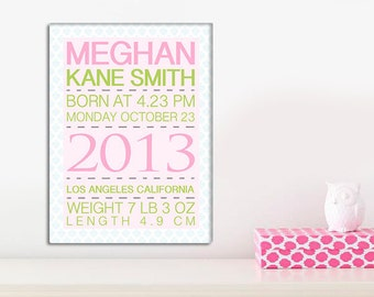 Baby Announcement Wall Art - Baby Stats - Baby Birth Stats - Baby Shower Gift - Nursery Decor