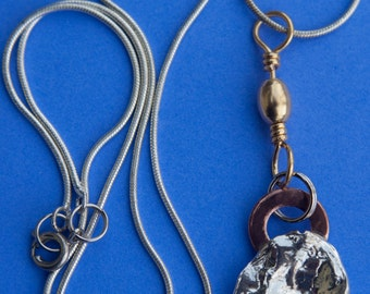 Silver Dollar Seed Pod necklace 3426