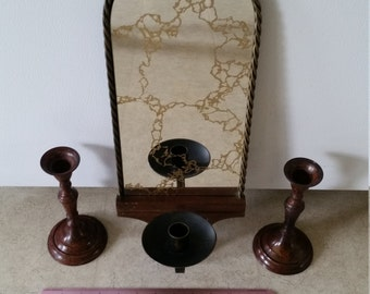vintage wooden and twisted metal rope mirror wall sconce and pair of 2 metal woodgrain taper candle holders - candlesticks art deco rustic
