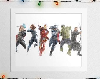 AVENGERS PRINT, The Avengers, Iron Man, Captain America, Black Widow, Hulk, Thor, Hawkeye, Watercolor, Superhero, Print, Digital Print