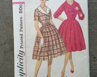 Vintage Sewing Pattern, Simplicity 3278, Size 14, Bust 34, 1950's, 50's, Dress