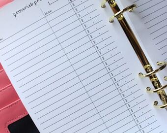 Printed Groceries List Half Letter Planner Inserts