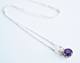 Amethyst Solitaire Necklace, Sterling Silver, Amethyst Pendant Necklace