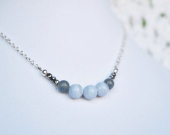 Blue Lace Agate Necklace, Blue Aventurine Necklace, Hematite Necklace, Semi Precious Necklace, Beaded Necklace