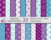 SALE 50% Winter Snowflakes Digital Paper Set, Winter Christmas Snowflakes Digital Papers, Winter Scrapbook Papers, Instant Digital Download