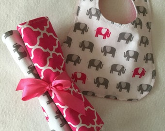 Baby Girl Bib, Baby Girl Burp Cloths, Baby Shower Gift, Toddler Bib, Pink Elephant Set, Baby Girl Burp Cloth and Bib Set,