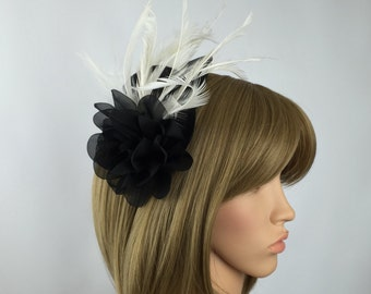 Black fascinator and ivory cream fascinator wedding mother of the bride asvot laies day the races prom