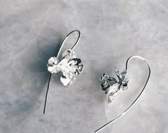 Sterling silver hand melded orchid earrings, Silver long stem orchid flower earrings, Tiny silver flower earrings, Minimal flower (ER63)