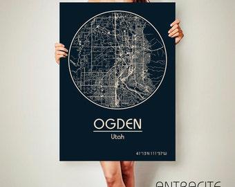 OGDEN Utah CANVAS Map Ogden Utah Poster City Map Ogden Utah Art Print Ogden Utah poster Ogden Utah map art Poster Ogden Utah map
