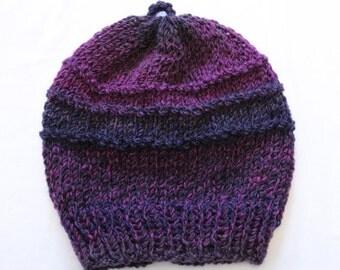 Purple Stripe Knitted Hat