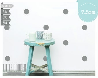 Polka Dots Circles 7.5CM Wall Decal Vinyl Sticker Spots_3 Inches Set of 18 | 36 | 54_For Nursery OR Kids Room_ID#1305
