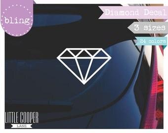 Diamond Vinyl Decal 3 Sizes | Bling Bling | Modern Geometric Design for Car, Laptop or Wall_ID#1351