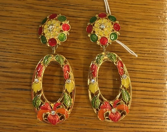Vintage Signed Avon Enamel & Rhinestone Clip-On Earrings