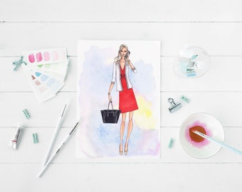 Custom Portrait with Background, Custom Fashion Illustration, personalized portrait, Custom Gift, Handmade illustration, digital file,