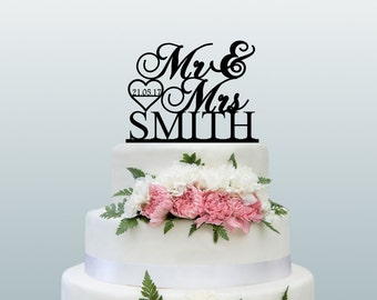 Wedding Cake Topper Personalised Mr and Mrs Custom Cake Topper Your Name And Date in Heart