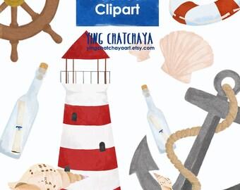 Nautical Watercolor Clipart, Digital Clipart, Marine Clipart, Ocean Clipart, PNG clipart, individual elements, Instant Download, sea clipart