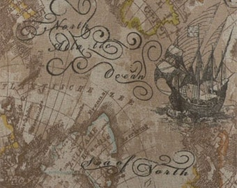 Ship Curtains - Antique Navigator Map Curtains - Buried Treasure Map!!! - Curtains for Men! - Brown Rustic Curtains!!!  Library Curtains!!!
