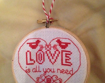 Hanging Cross Stitch Hoop - Love is all you need Design