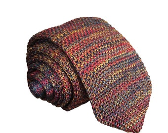 Mens Slim Woven Knitted Necktie by Poserclub - Red Blend