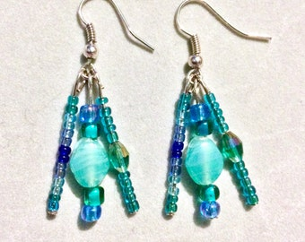 Turquoise and Teal Cluster Earrings