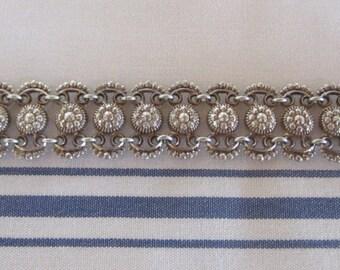 Vintage 800 Silver Ornate Panels Hinged Bracelet