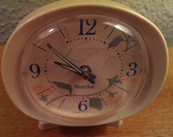 vintage retro Westclox wind up alarm clock pink Butterfly and Flowers