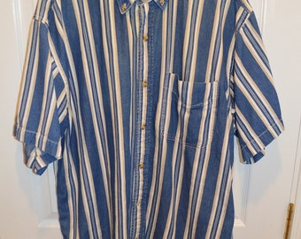 Mens Vintage 90s Jean Short Sleeve Shirt by Coliseum World Explorer
