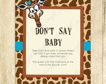 Don't Say Baby Game, Baby Shower Games, Printable Giraffe Baby Shower Games, Don't Say Baby Sign, Diaper Pins Clothes Pins Game, Blue 0016A