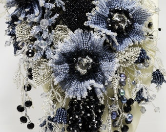 Silver, Black and Gray Jewelry Statement Flower Necklace, Beadwoven Pearl Bib Necklace, Seed Bead Necklace, Holiday Necklace, Gift for Her