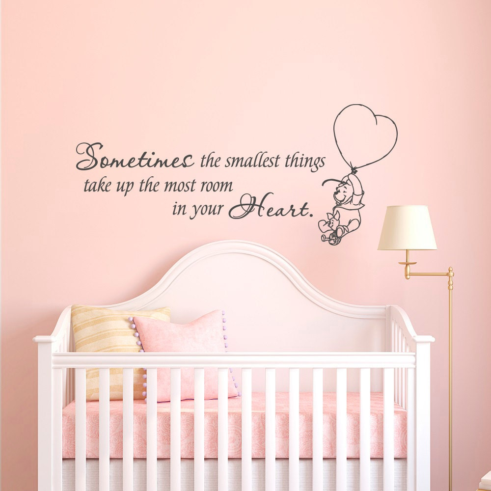 winnie the pooh wall decal quote sometimes the smallest things winnie the pooh wall art quotes words phrases kids nursery
