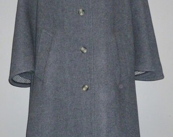 Vintage 1970's Full Length Wool Coat Cape Sleeves UK 12 - 14