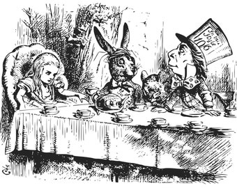 Alice in Wonderland Mad hatters tea party svg png & jpg/jpeg for instant download vector we are all mad here Sir John Tenniel