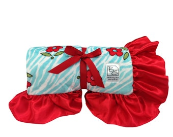Red Floral Stroller Blanket